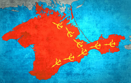 The map of Crimea with the Russian expansion and occupation