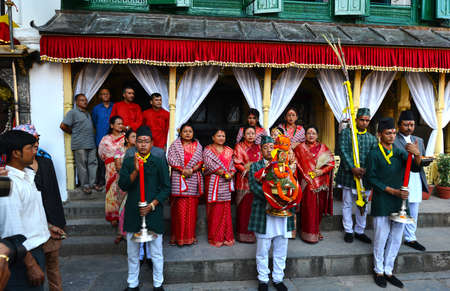high society: KATHMANDU - OCT 11  People of the Nepalese high society, the Royal ladies, gathered in the Royal Palace to celebrate the first day of the Dashain festival  On October 11, 2013 in Kathmandu, Nepal