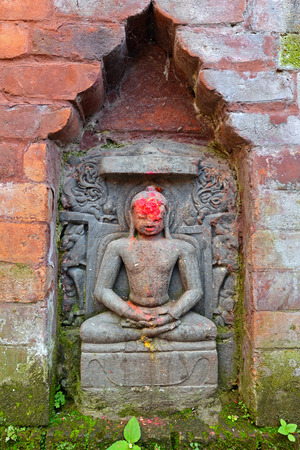 Miniature stone relief, sculpture of Shiva the destroyer in Pashupatinath, Nepal photo