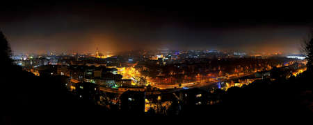 Panorama city nightscape of Cluj Napoca, Kolozsvar, Romania photo