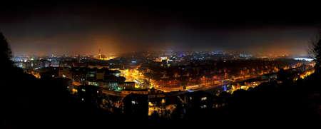 napoca: Panorama city nightscape of Cluj Napoca, Kolozsvar, Romania