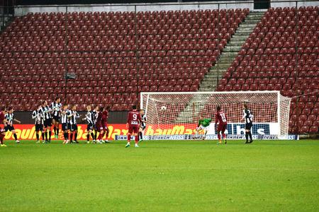 cfr cluj: CLUJ NAPOCA, ROMANIA - MARCH 4  Goalkeeper of Universitatea Cluj, Robert Veselovskyin action during a derby against CFR Cluj  Final score  CFR Cluj - U Cluj  1 2  On