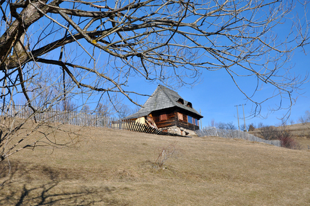 Traditional rustic, Romanian lodge in the mountains