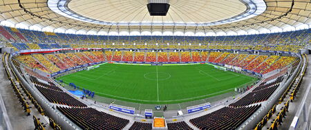 BUCHAREST - APRIL 17  Panorama of National Arena stadium before a match between Dinamo and Steaua Bucharest  On April 17, 2014 in Bucharest, Romania