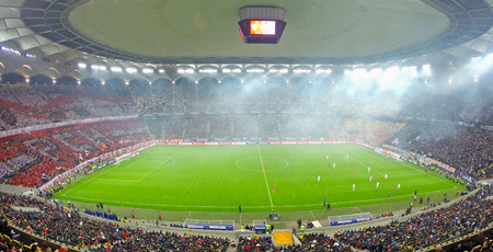 BUCHAREST - APRIL 17  Panorama of National Arena stadium during a match between Dinamo and Steaua Bucharest  On April 17, 2014 in Bucharest, Romania