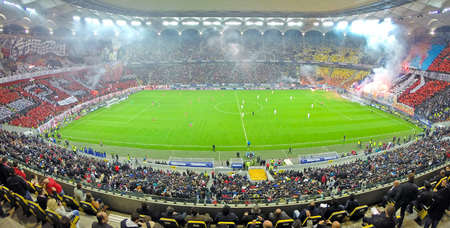 BUCHAREST - APRIL 17   National Arena stadium full with crowd of supporters during a match between Dinamo and Steaua Bucharest  On April 17, 2014 in Bucharest, Romania
