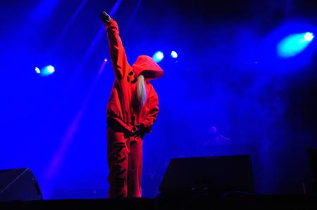 Bontida - 19 juni Die Antwoord, de Zuid-Afrikaanse rap-rave band uit Kaapstad live op Electric Castle Festival op 19 juni 2014 in het kasteel Banffy in Bontida, Roemenië Stockfoto - 29363501