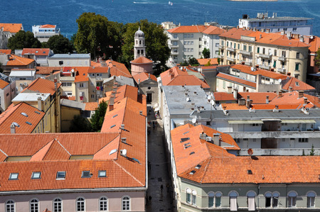 starigrad: Aerial view of Zadar city from a church tower, Croatia Stock Photo