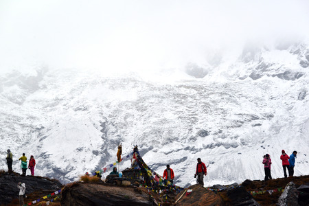 expeditions: ANNAPURNA - OCT 3: Annapurna climbing expeditions forced to stay in the ABC, without any possibilities to reach the summit, due to bad weather. On Oct 8, 2013 in Annapurna Base Camp, Himalayas, Nepal