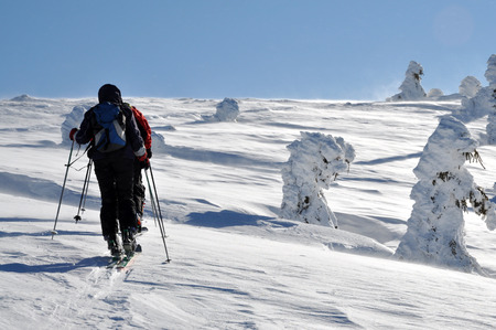 back country: Back country skier (ski touring) Stock Photo
