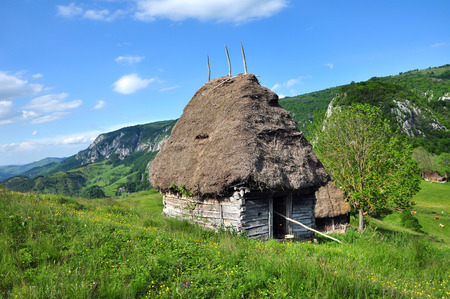 Wooden stable with thatched roof in the mountains. Transylvania, Romania
