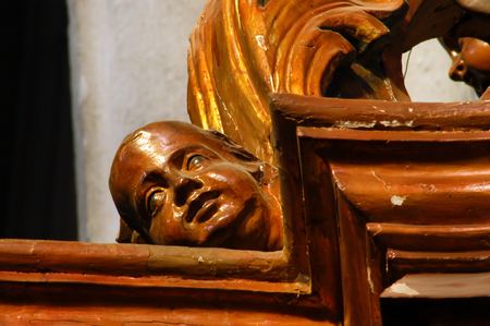 napoca: Wooden statue in the Saint Michael catholic church. Cluj Napoca  Kolozsvar, Romania