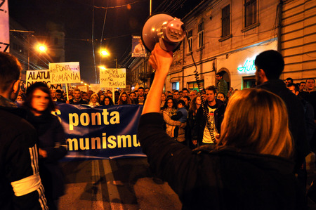 Romanians protest against Victor Ponta because Romanians abroad were stopped from voting by the Socialist Government. On Nov 8, 2014 in Cluj, Romania