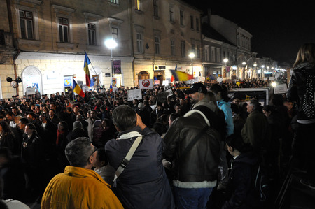 election night: Romanians protest against Victor Ponta because Romanians abroad were stopped from voting by the Socialist Government. On Nov 8, 2014 in Cluj, Romania