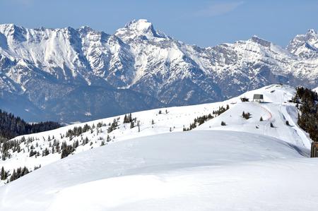 piste: Ski piste in Kaprun ski resort, Austria Stock Photo