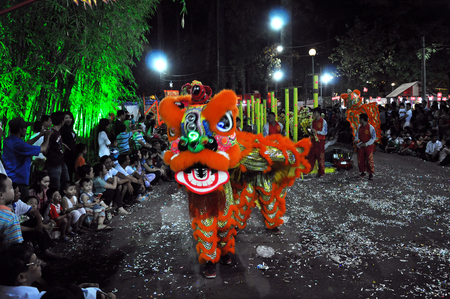 HO CHI MINH, VIETNAM - FEBRUARY 15: A group of unidentified boys dance with their colorful dragons during the Tet Lunar New Year celebrations on February 15, 2013 in Ho Chi Minh city , Vietnam