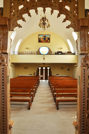 capita: CLUJ - SEPTEMBER 14: The interior of the newly built Greek Catholic Church. Romania has got the highest number of churches per capita in Europe. On September 14, 2011 in Cluj-Napoca, Romania