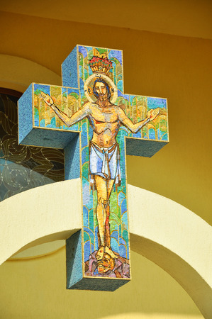 CLUJ - SEPTEMBER 14: Jesus on the cross, made from mosaic in the newly built Greek Catholic Church. On September 14, 2011 in Cluj-Napoca, Romania