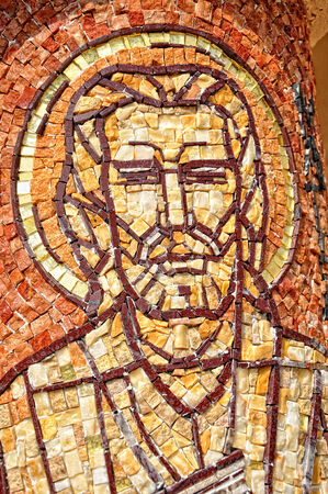 CLUJ - SEPTEMBER 14: Saint Mark apostle, made from mosaic on the column of the newly built Greek Catholic Church. On September 14, 2011 in Cluj-Napoca, Romania Editorial