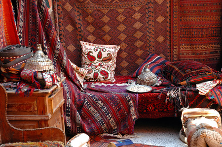 Turkish bazaar, carpet market photo