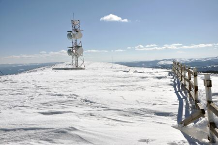 polar station: Weather station at winter in the mountains