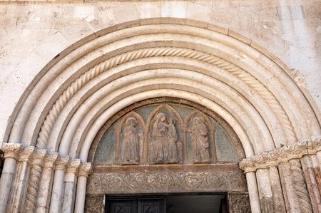 bas relief: Bas relief with sculpted Biblical motifs on a church. Zadar, Croatia