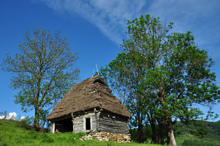 Traditional Romanian wooden barn with thatched roof photo