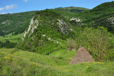 Mountain village with isolated wooden houses photo
