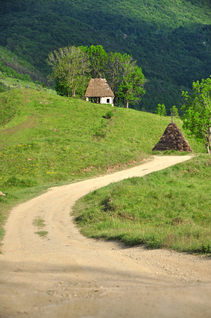 Village road in the mountains photo