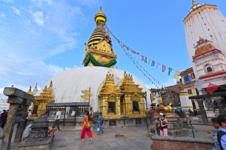 intact: SWAYAMBHUNATH  SEPTEMBER 29: Buddhist stupa of Swayambhunath remained intact after the massive earthquake that hit Nepal on April 25 2015. On September 29 2013 in Swayambhunath Nepal
