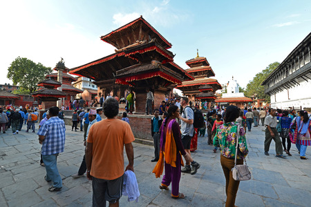 25 29: KATHMANDU  OCTOBER 29: Medieval temples and buildings in the Durbar square now destroyed after the massive earthquake that hit Nepal on April 25 2015. On October 29 2013 in Kathmandu Nepal