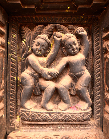 BHAKTAPUR  OCTOBER 10: Erotic carvings on Hindu temples now destroyed after the massive earthquake that hit Nepal on April 25 2015. On October 10 2013 in Kathmandu Nepal Editorial