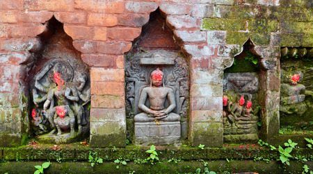 deities: KATHMANDU  OCTOBER 10: Statues of Hindu deities in Bhaktapur. They were destroyed after that earthquake hit Nepal on April 25 2015. On October 10 2013 in Kathmandu Nepal