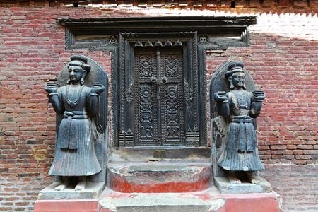 going places: BHAKTAPUR  OCTOBER 10: Entrance to a Hindu temple in Bhaktapur. The temple was destroyed after that earthquake hit Nepal on April 25 2015. On Oct. 10 2013 in Bhaktapur Nepal Editorial