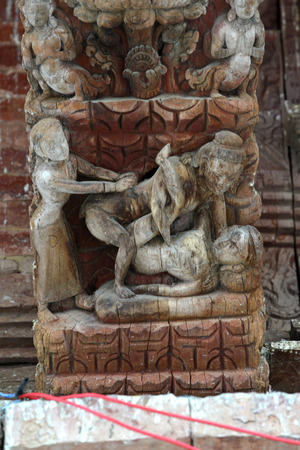 KATHMANDU  SEPTEMBER 29: Erotic carvings on a Hindu temple now destroyed after the massive earthquake that hit Nepal on April 25 2015. On September 29 2013 in Kathmandu Nepal Editorial