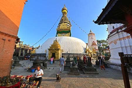 remained: SWAYAMBHUNATH  SEPTEMBER 29: Buddhist stupa of Swayambhunath remained intact after the massive earthquake that hit Nepal on April 25 2015. On September 29 2013 in Swayambhunath Nepal