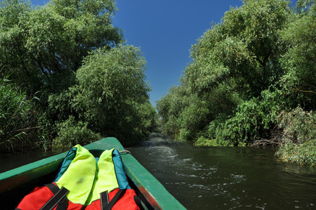 danube delta: Exploring Danube delta with a boat