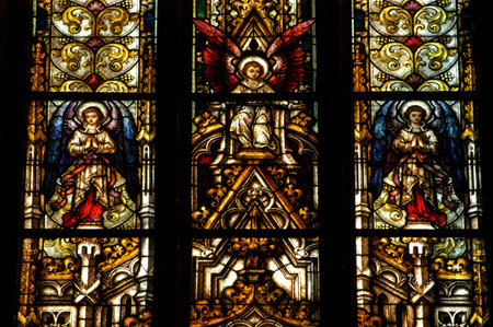 CLUJ NAPOCA ROMANIA  DECEMBER 27: Biblical scene on a stained glass window inside the Gothic Roman Catholic Church of Saint Michael built in 1390. On december 27 2003 in Cluj Romania