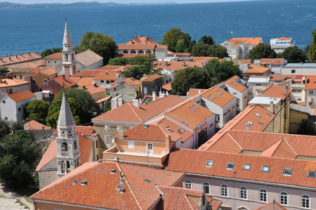 starigrad: ZADAR CROATIA  AUGUST 25: Aerial view of the Stari Grad Old Town of the Unesco heritage city of Zadar. On 25 August 2014 in Zadar Croatia