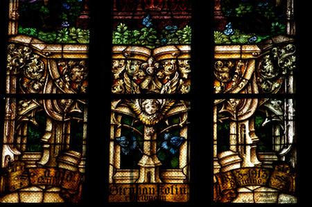 kolozsvar: CLUJ NAPOCA ROMANIA  DECEMBER 27: Biblical scene on a stained glass window inside the Gothic Roman Catholic Church of Saint Michael built in 1390. On december 27 2003 in Cluj Romania