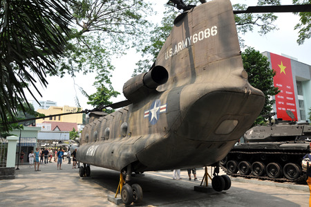 gunfire: HO CHI MINH  MARCH 7: US Army helicopter used in the Vietnamese war exposed in the War Remnants Museum Saigon. On March 7 2013 in Saigon Vietnam