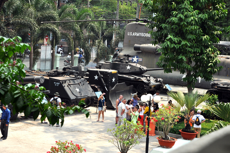 remnants: HO CHI MINH  MARCH 7: US tank used in the Vietnamese War exposed in the War Remnants Museum in Saigon. On March 7 2013 in Saigon Vietnam