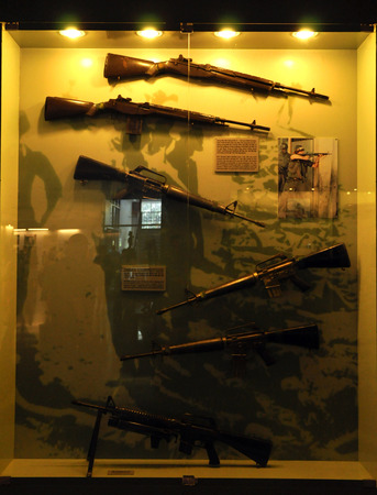 gunfire: HO CHI MINH  MARCH 7: Different types of weapons used in the VietnameseAmerican War exhibited in the War Remnants Museum in Saigon. On March 7 2013 in Saigon Vietnam