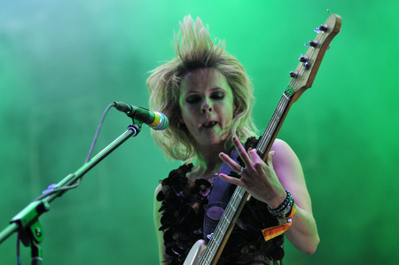 bass guitar women: BONTIDA - JUNE 28, 2015: The Subways band from Great Britain performing live at the main stage of the Electric Castle Festival at June 28, 2015 in the Banffy castle in Bontida, Romania