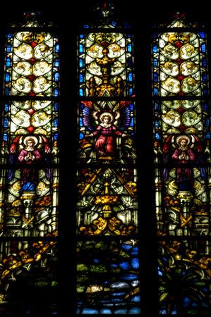 kolozsvar: CLUJ NAPOCA, ROMANIA - DECEMBER 27: Biblical scene on a stained glass window inside the Gothic Roman Catholic Church of Saint Michael, built in 1390. On december 27, 2003 in Cluj, Romania Editorial