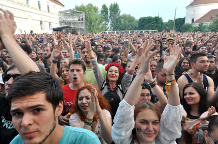 partying: BONTIDA - JUNE 26, 2015: Partying crowd during the live concert of The Subways band from Great Britain at the Electric Castle Festival at June 26, 2015 in the Banffy castle in Bontida, Romania
