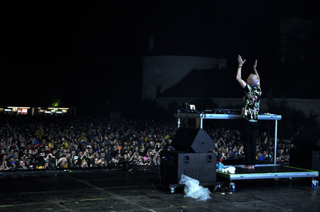 dub: BONTIDA - JUNE 26, 2015: Fatboy Slim aka Norman Cook performs live at the main stage of the Electric Castle Festival at June 26, 2015 in the Banffy castle in Bontida, Romania