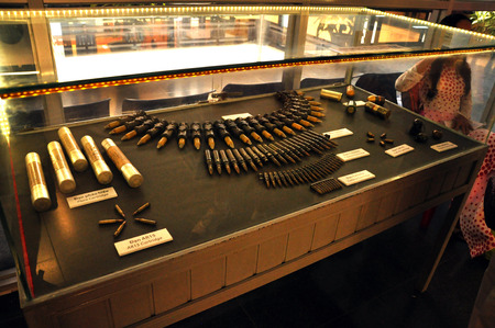 barrel bomb: HO CHI MINH - MARCH 7: Different types of weapons used in the Vietnamese-American War exhibited in the War Remnants Museum in Saigon. On March 7, 2013 in Saigon, Vietnam