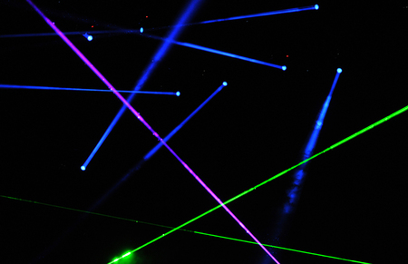 during: BONTIDA, ROMANIA - JUNE 28, 2015: Stage lights and laser show during a live concert at Electric Castle festival