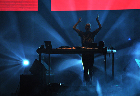 norman castle: BONTIDA - JUNE 26, 2015: Fatboy Slim aka Norman Cook performs live at the main stage of the Electric Castle Festival at June 26, 2015 in the Banffy castle in Bontida, Romania